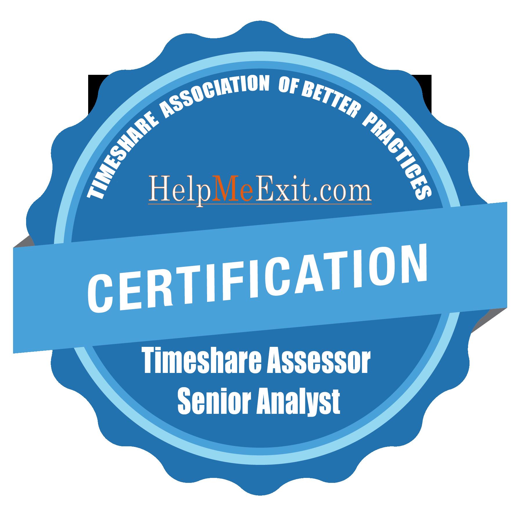 Timeshare Assessor Senior Analyst